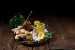 Lemon- ginger lemonade with honey Stock Photo