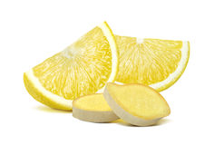 Lemon and ginger pieces isolated on white background Royalty Free Stock Images