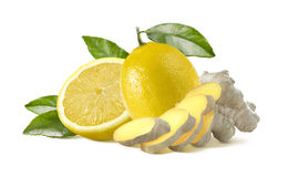Lemon and ginger pieces  on white background Stock Photo