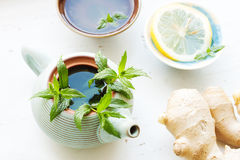 Lemon ginger tea with mint - pure and fresh look Stock Photo