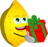 Lemon giving you a gift box Stock Photos