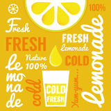 Lemon with glasses of lemonade or cocktail. Typography poster Royalty Free Stock Image