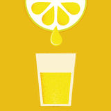Lemon with glasses of lemonade or cocktail Stock Photos