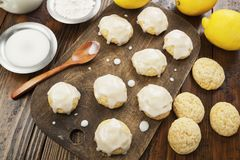 Lemon glaze cookies Stock Photos
