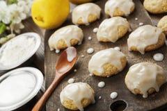 Lemon glaze cookies royalty free stock photo