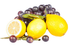 Lemon and grapes Royalty Free Stock Images