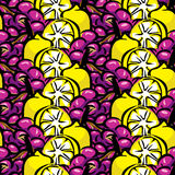 Lemon and grapes background Royalty Free Stock Photos
