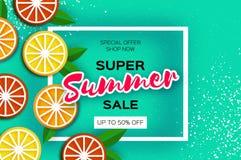 Lemon, graprfruit, orange. Citrus Super Summer Sale Banner in paper cut style. Origami juicy ripe slices. Healthy food Royalty Free Stock Images