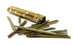 Lemon grass. Dried lemon grass canes on white background Royalty Free Stock Photography