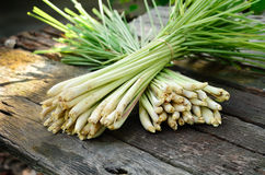 Lemon Grass. On wood background Royalty Free Stock Photography