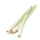 Lemon Grass. Four lemon grass (Cymbopogon) stalks, isolated on white background Stock Photos