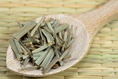 Lemon grass. On a wooden spoon Royalty Free Stock Photo