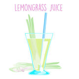 Lemon grass juice on white background  Royalty Free Stock Images