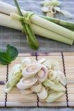 Lemon Grass Slice on bamboo. Stock Image