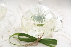 Lemon grass tea. A pot of lemon grass tea stock images