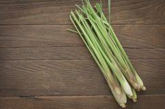 Lemon grass. Top view, Fresh lemon grass on wood table stock images