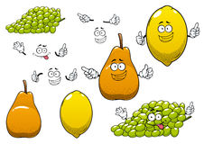 Lemon, green grape and pear fruits Royalty Free Stock Images