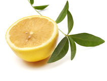 Lemon with green leaf Royalty Free Stock Photography