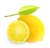 Lemon with green leaf isolated Stock Image