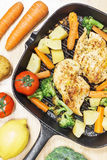 Lemon grilled chicken breast fried vegetables in pan Royalty Free Stock Images
