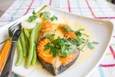 Lemon Grilled Salmon Royalty Free Stock Photo