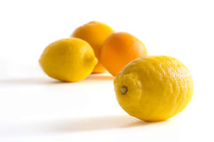 Lemon with group fruits Royalty Free Stock Photography