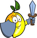 Lemon guard with shield and sword Stock Photography