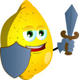 Lemon guard with shield and sword Stock Image