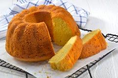 Lemon gugelhupf on baking paper Stock Photo