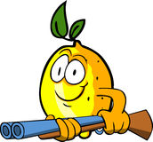 Lemon with a gun Royalty Free Stock Photos