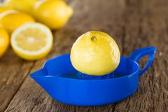 Lemon Half on Citrus Squeezer royalty free stock photos
