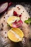 Lemon half with herbs and spices on raw Zander Fish fillet. Lemon half with herbs, onion and spices on raw Zander Fish fillet Stock Photos