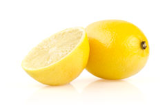 Lemon with Half on White Background Royalty Free Stock Image