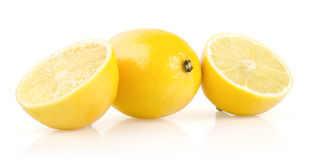 Lemon with Half on White Background Royalty Free Stock Photography