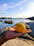 Lemon beach. Lemon in hand, Close to water. Stone and coast. A boat on the sea. Hand hold the lemon stock photography