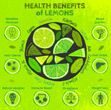 Lemon Health Benefits. Graphic vector illustration of  beautiful hand drawn infographics with fresh lemons health benefits on a textured background in fresh and Royalty Free Stock Photography
