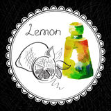 Lemon. Health and Nature Collection. Aromatic lemon oil (watercolor and graphic illustration Royalty Free Stock Images