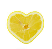 Lemon heart. Shaped slice cross section isolated on white background Stock Photo
