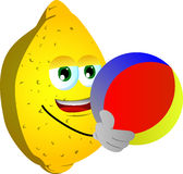 Lemon holding a beach ball Royalty Free Stock Photography