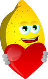 Lemon holding a big red heart Royalty Free Stock Image