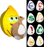 Lemon holding a big sack with variable signs Stock Photo