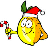 Lemon holding a candy cane and wearing Santa's hat Stock Photography