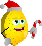 Lemon holding a candy cane and wearing Santa's hat Royalty Free Stock Images