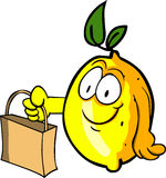 Lemon holding an empty bag Royalty Free Stock Image