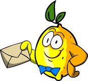 Lemon holding an envelope Royalty Free Stock Image