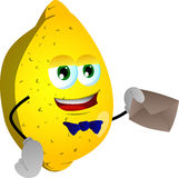 Lemon holding an envelope Royalty Free Stock Photo