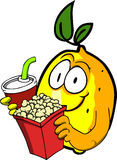 Lemon holding popcorn and soft drink Stock Image