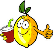 Lemon holding soda and showing thumb up sign Stock Photo