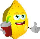 Lemon holding soda and showing thumb up sign Royalty Free Stock Images