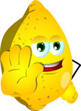 Lemon holding a stop sign Royalty Free Stock Photography